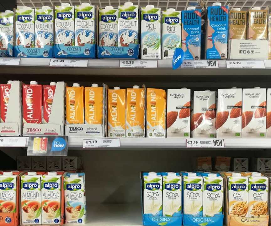Plant milks with added calcium and vitamins? No thanks! On supermarket shelves. Vegetable drinks department