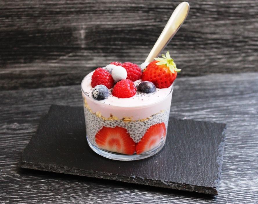 Chia pudding with blueberry vegan yogurt. Recipe